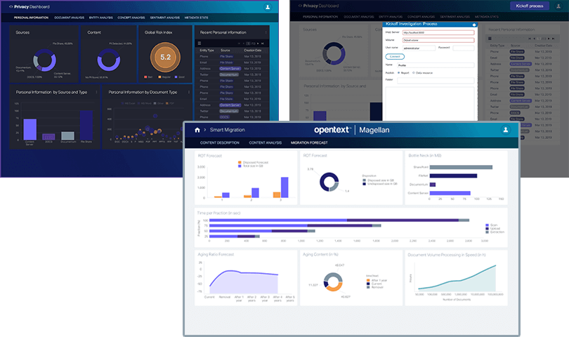 User interfaces of the AI-Driven Content Advisor from OpenText Magellan platform